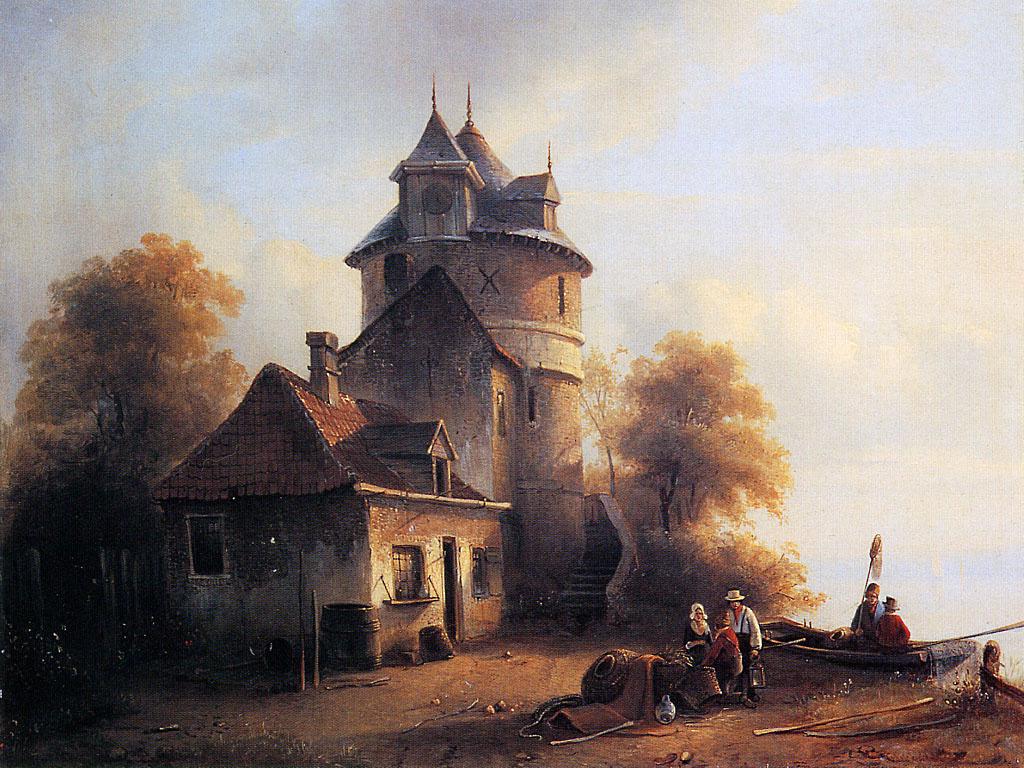 Рядом Рыбаки. Здание с башней