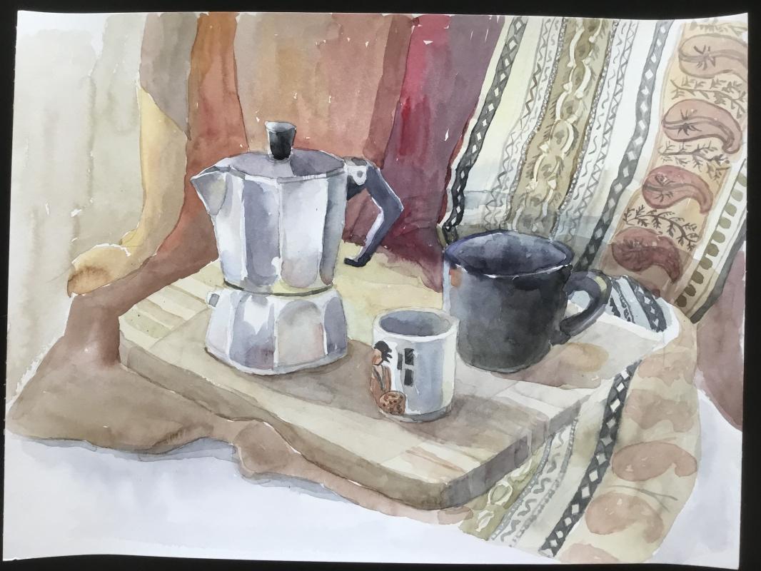 Vladimir Petrov. Still life with coffee maker