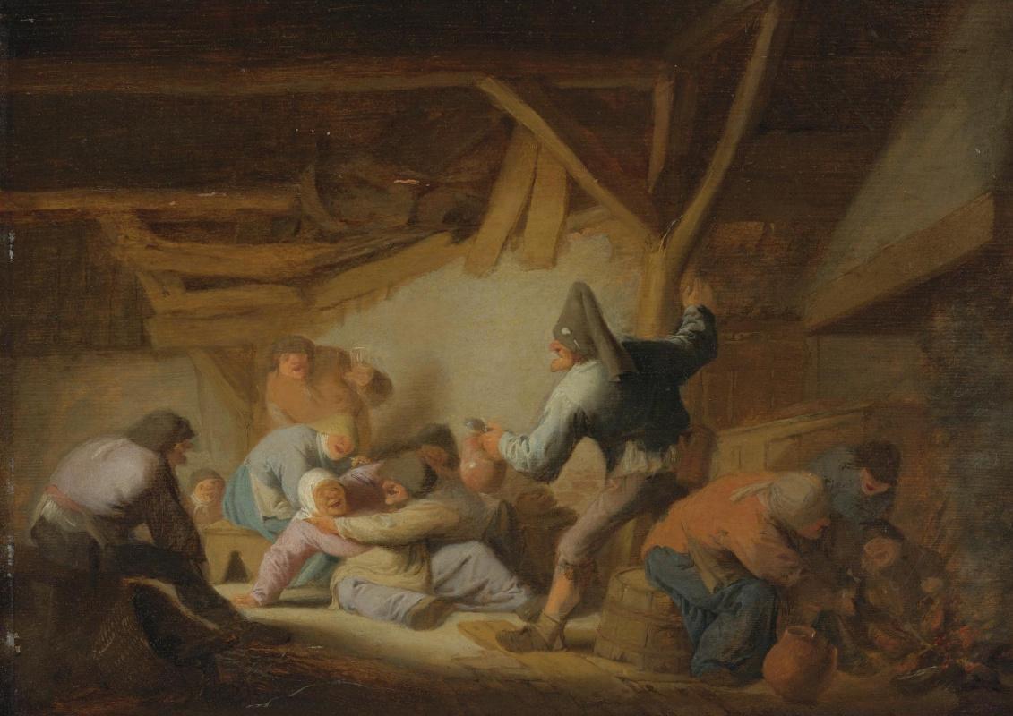 Adrian Jans van Ostade. The quarrel of the peasants in the tavern