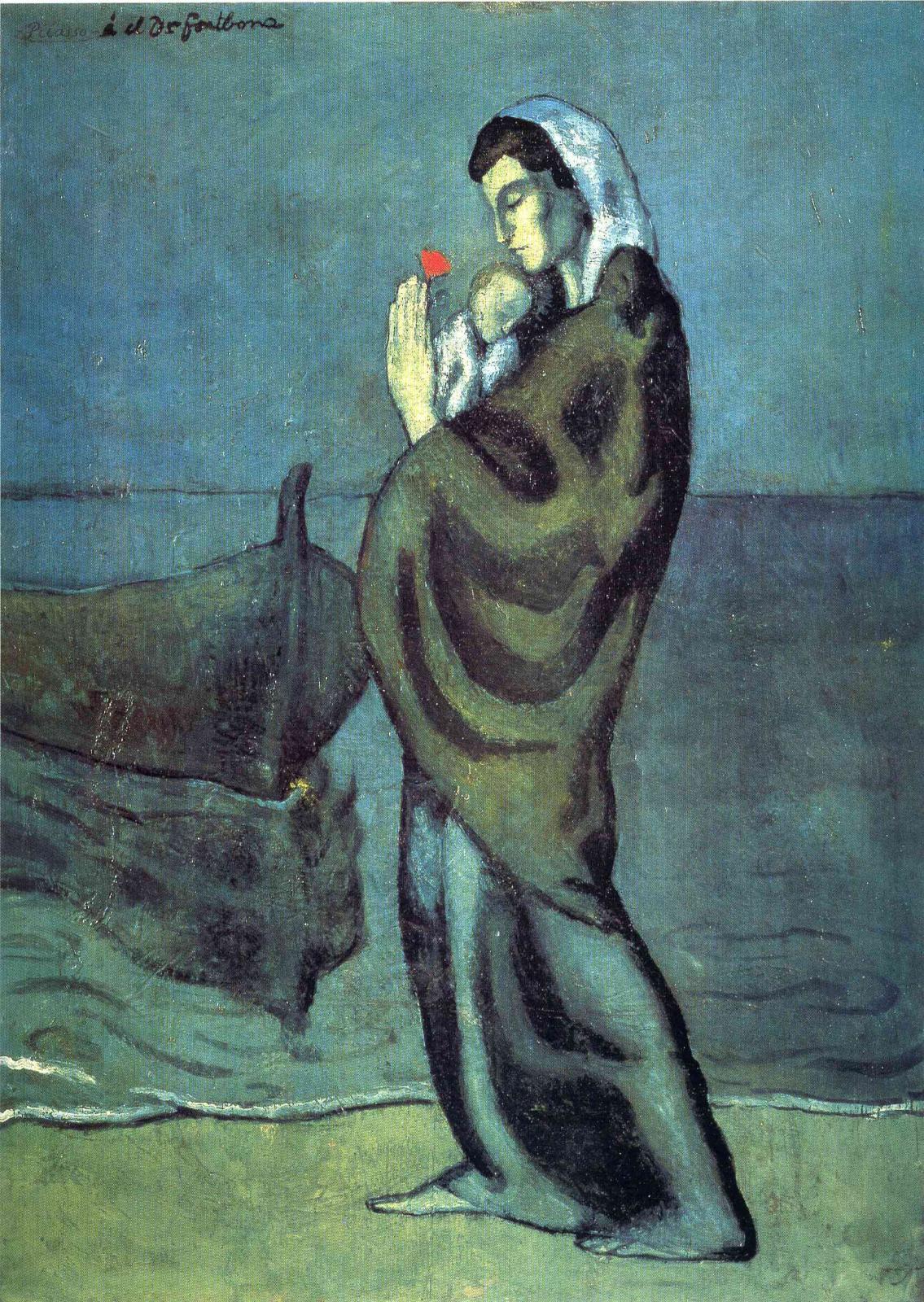 Пабло Пикассо. Мать и дитя на побережье
