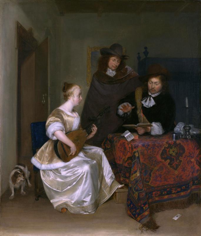 Герард Терборх. Женщина играет на теорбе с двумя мужчинами
