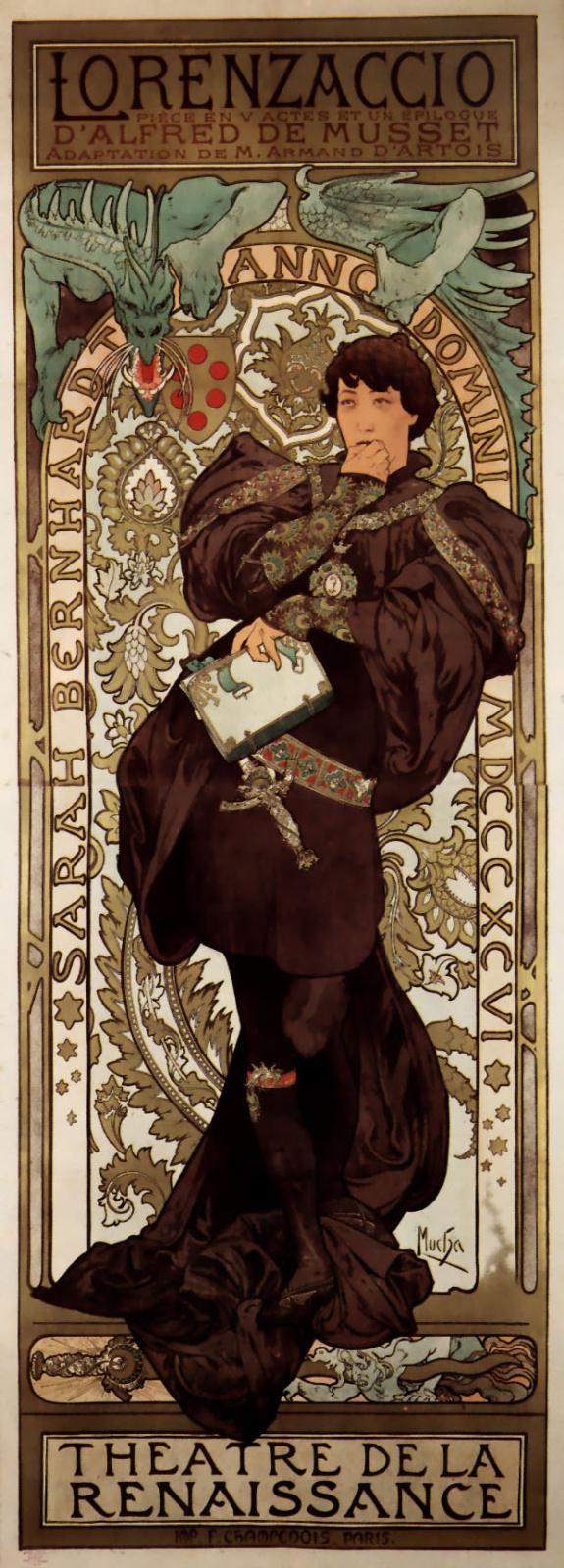 Альфонс Муха. Лорензачио. Рекламный плакат для Сары Бернар