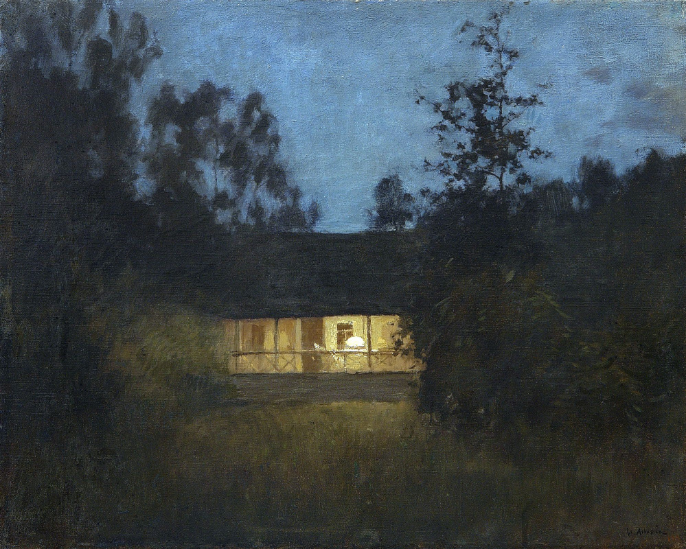 Isaac Levitan. At the cottage in the twilight
