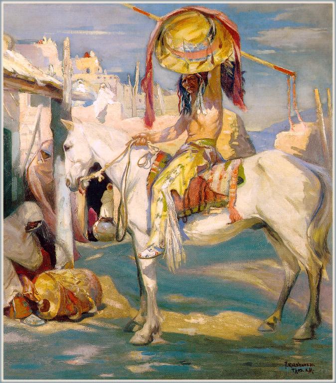 Julius Rolshoven. On a white horse