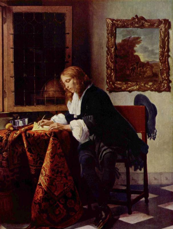 Габриель Метсю. Молодой человек, пишущий письмо
