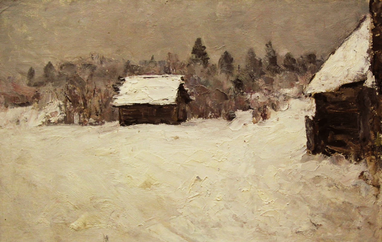 Vladimir Georgievich Gremitskykh. Winter in village, Small Town