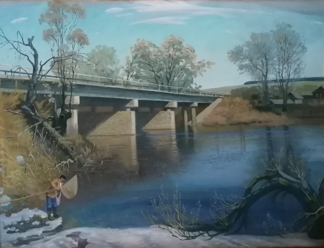 Nikolay Stepanovich Makushkin. Fishing under the bridge