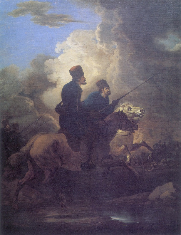 Alexander Osipovich Orel. Two Cossacks on horseback