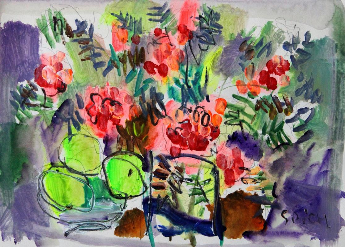 Ilya Pavlovich Spichenkov. Rowan bouquet with apples