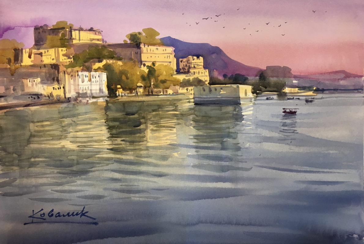 Andrew. City Palace at sunset Udaipur, India