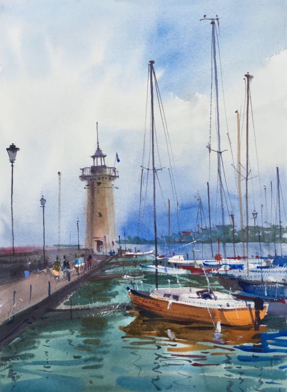 Andrew. Lighthouse on Lake Garda. Italy