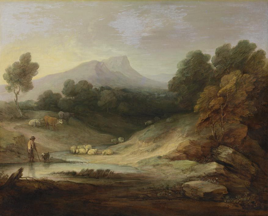 Thomas Gainsborough. Landscape with shepherd and flock