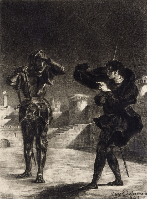 Eugene Delacroix. The Ghost on the terrace (hamlet and the Ghost of his father)