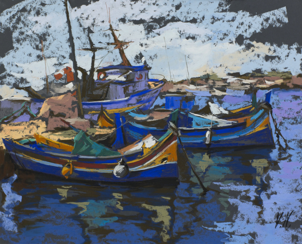 "Valeria Gal'evna Nadezhdin. ""Fishing boats. Marsaxlokk »Malta"