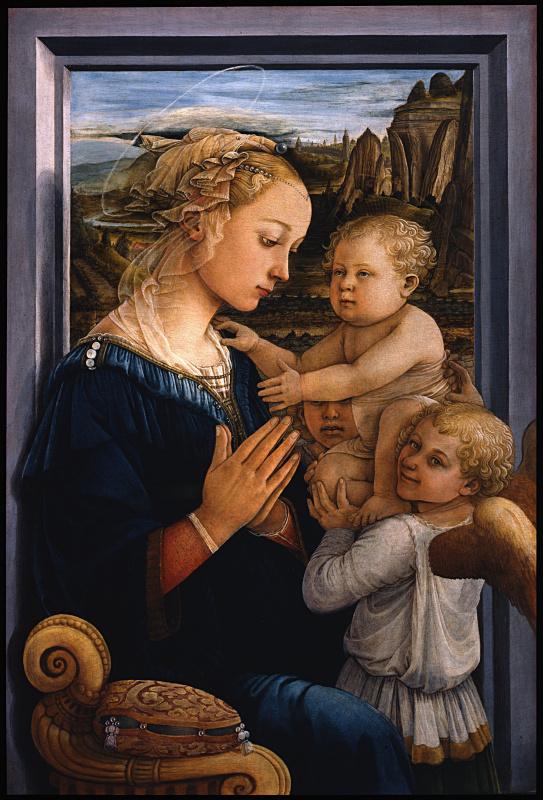 Фра Филиппо Липпи. Мадонна с младенцем и двумя ангелами (Мадонна под вуалью)