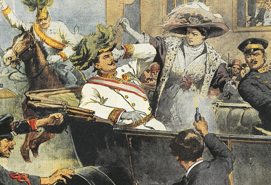 Unknown artist. Assassination of Archduke Franz Ferdinand and his wife, Duchess of Sofia, Sarajevo, June 28, 1914