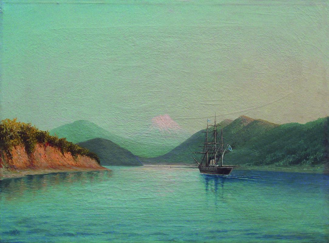 Lev Feliksovich Lagorio. In the Caucasus mountains. Ship in the Bay