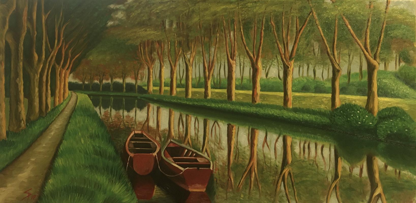 Alexander Dik. Herbstlandschaft mit zwei Booten