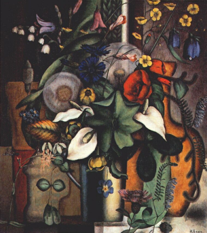 Ivan Vasilyevich Klyun. Still life with flowers and pitcher