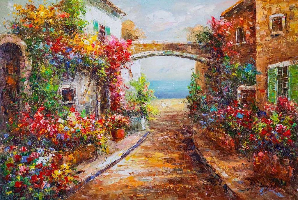 """Andrzej Vlodarczyk. Mediterranean landscape oil painting """"Blooming Mediterranean (N2)"""""""
