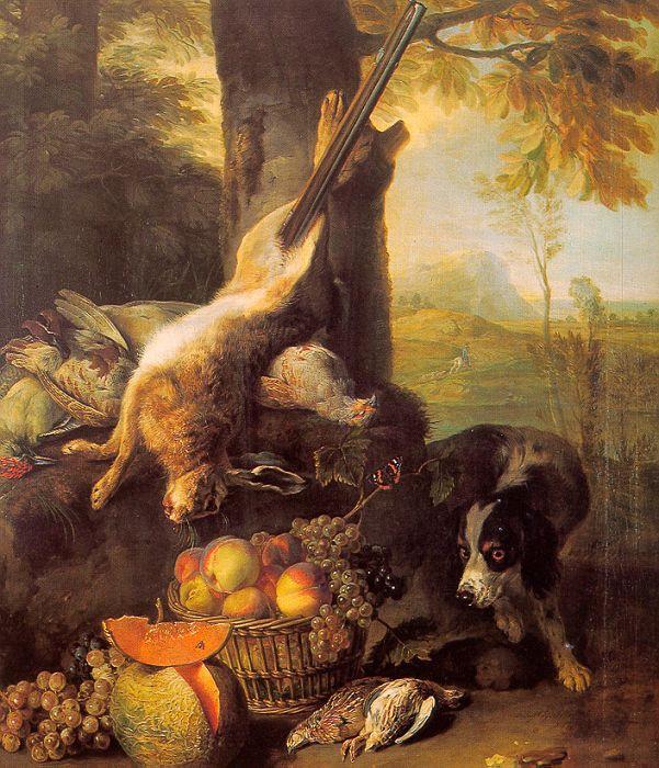 Александр Франсуа Деспортес. Натюрморт с убитым заяцем и фруктоми