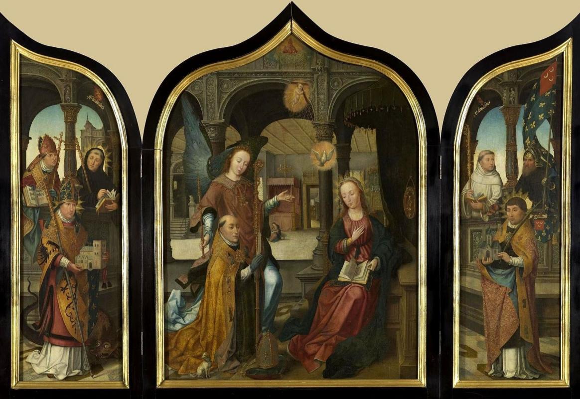 Unknown artist. Dutch school. 1516 Triptych. The Annunciation Center 180 x 179.5 sash approx. 103 x 32