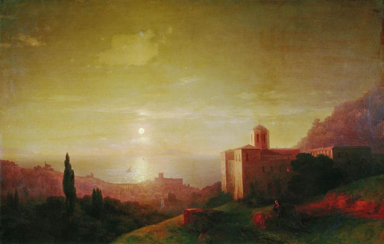 Ivan Aivazovsky. Moonlit night on the seashore in the Crimea
