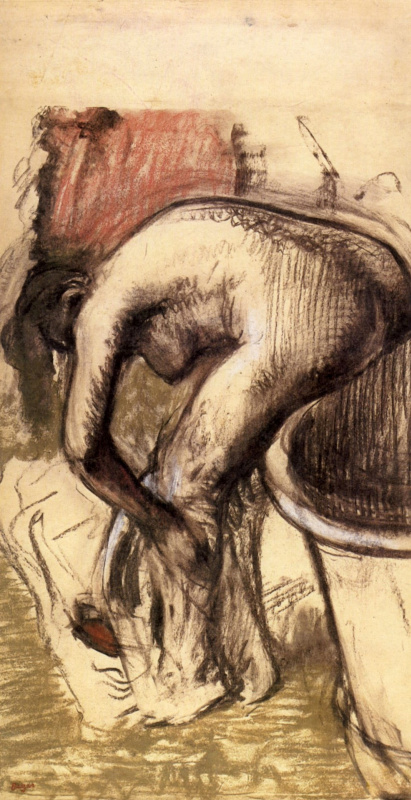 Edgar Degas. Nude on the edge of the bathtub, wiping his feet