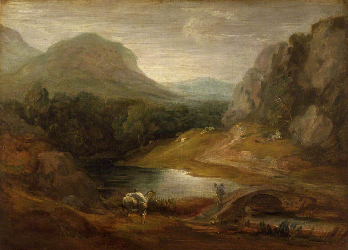 Томас Гейнсборо. Горный пейзаж с мостом через реку