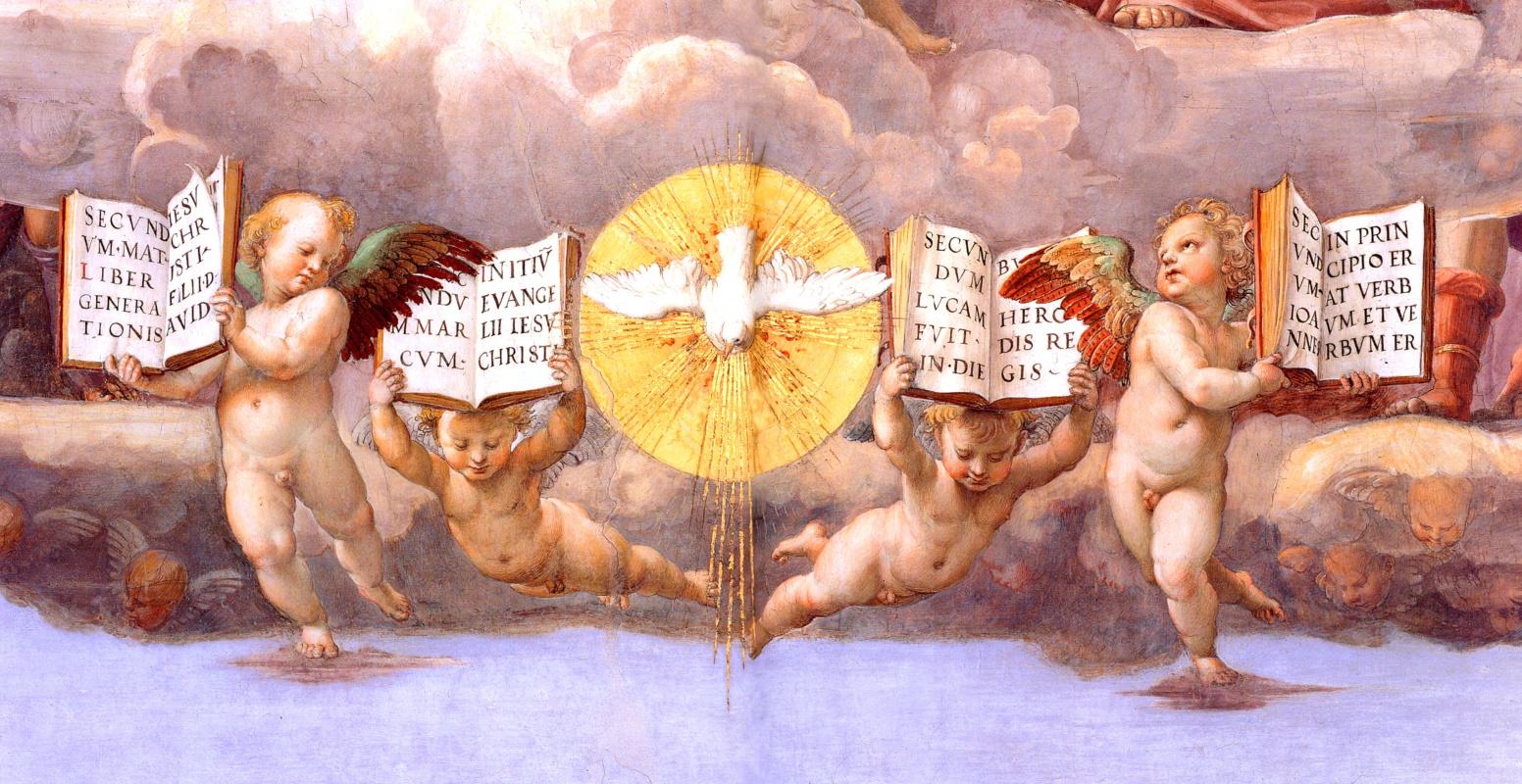 """Рафаэль Санти. Станца делла Сеньятура. Фреска """"Диспут"""". Фрагмент: Святой дух в виде голубя и ангелы с евангелиями"""