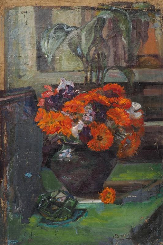 Елена Дмитриевна Чичагова-Россинская. Натюрморт с ноготками. 1950-е 59 х 41