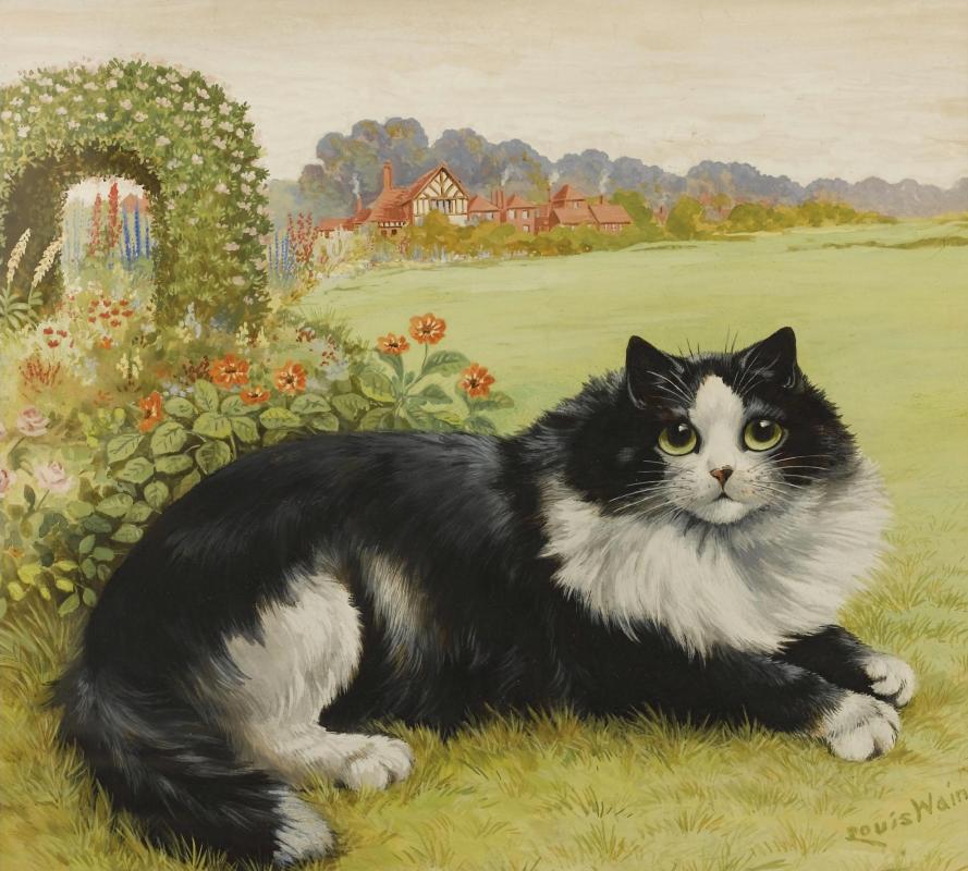 Луис Уэйн. Кот в саду