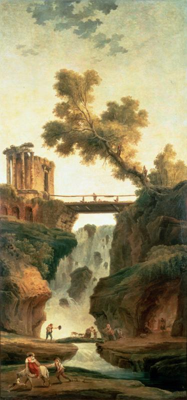 Хьюберт Роберт. Пейзаж с водопадом