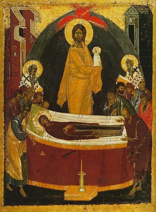 Icon Painting. The Assumption Of The Blessed Virgin Mary