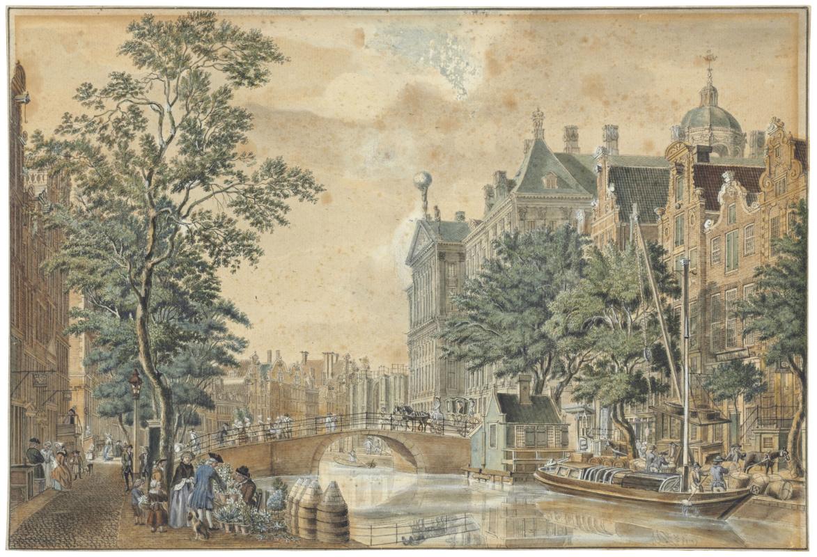 Ян де Бейер. Городской пейзаж Амстердама с видом на Королевский дворец