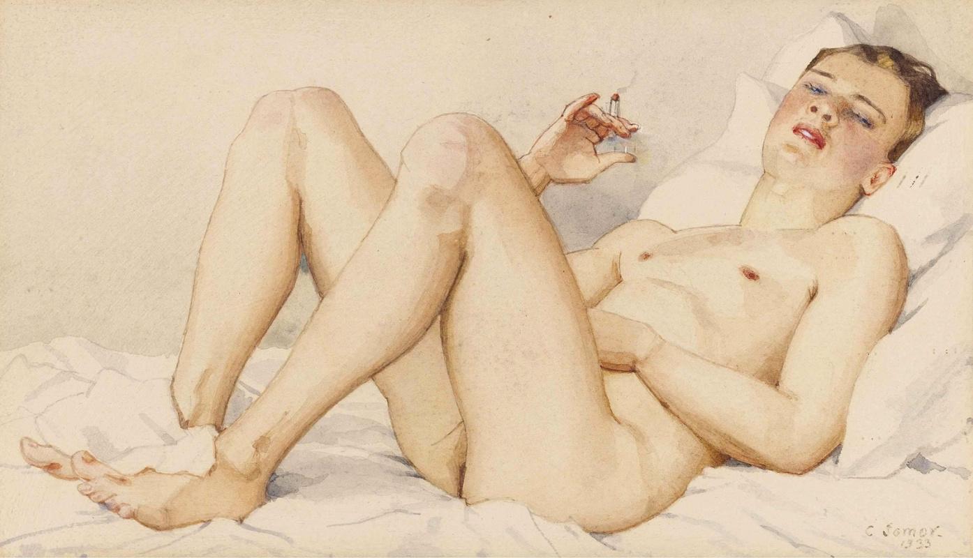 юная художница рисует голого парня