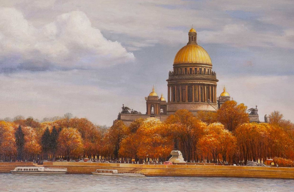 """Savely Kamsky. Landscape of Saint-Petersburg oil """"Autumn view of St. Isaac's Cathedral from the Neva river"""""""""""