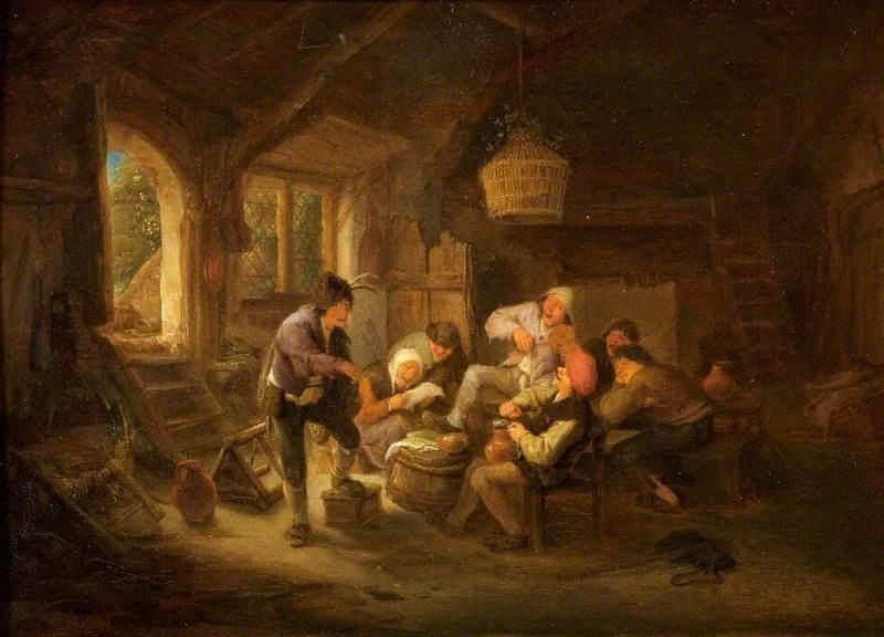 Adrian Jans van Ostade. Scene with peasants drinking