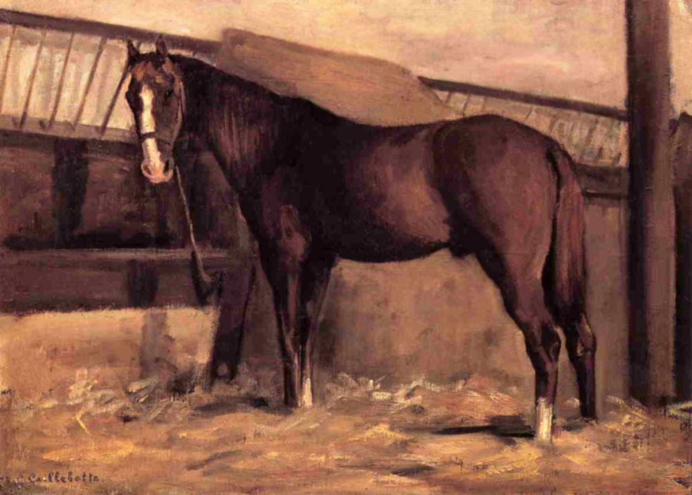 Gustave Caillebotte. Yerres, Reddish Bay Horse In The Stable