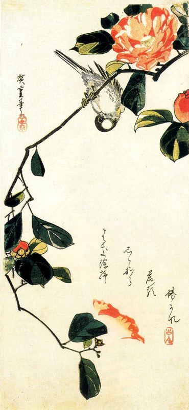 """Utagawa Hiroshige. Tit on a branch of Camellia. Series """"Birds and flowers"""""""