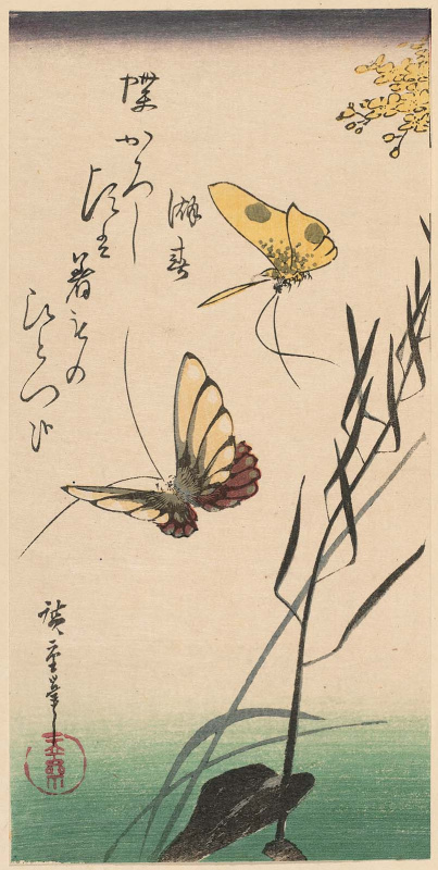 Utagawa Hiroshige. Three views of summer: butterflies