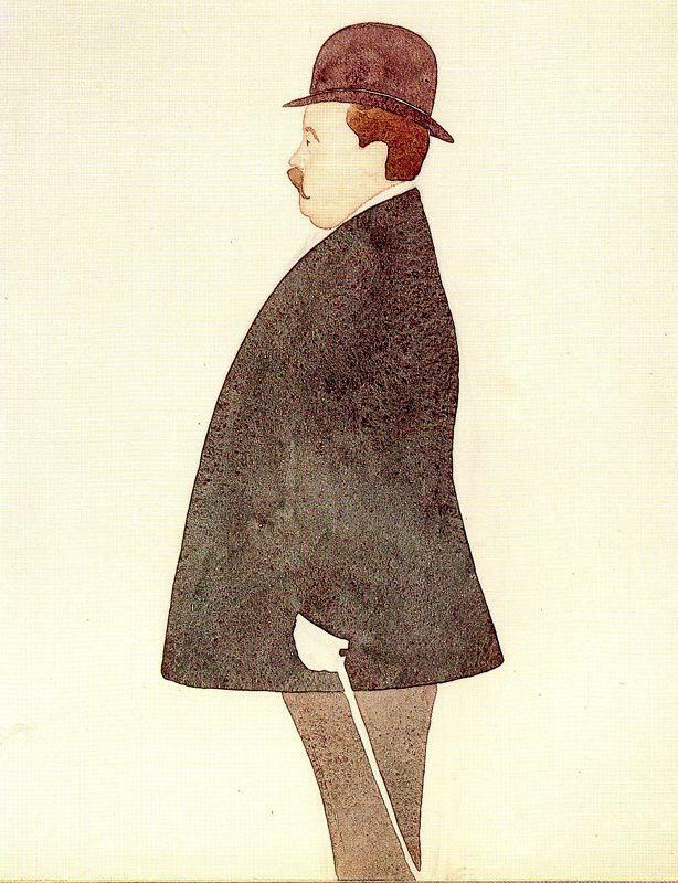 Эваристо Валле. Мужчина с тростью в котелке