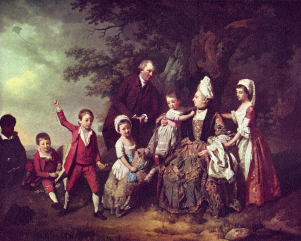 Иоганн Цоффани. Семейный портрет на фоне пейзажа