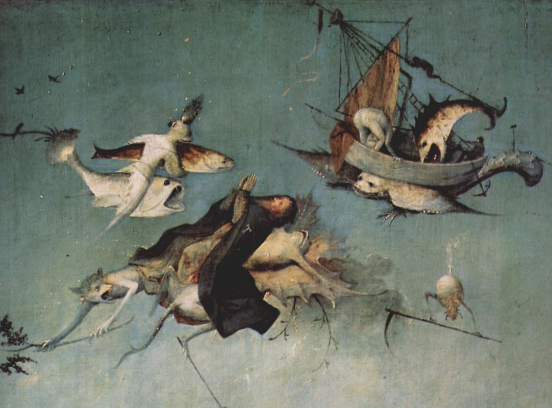 Иероним Босх. Искушение Святого Антония. Левая створка триптиха. Фрагмент