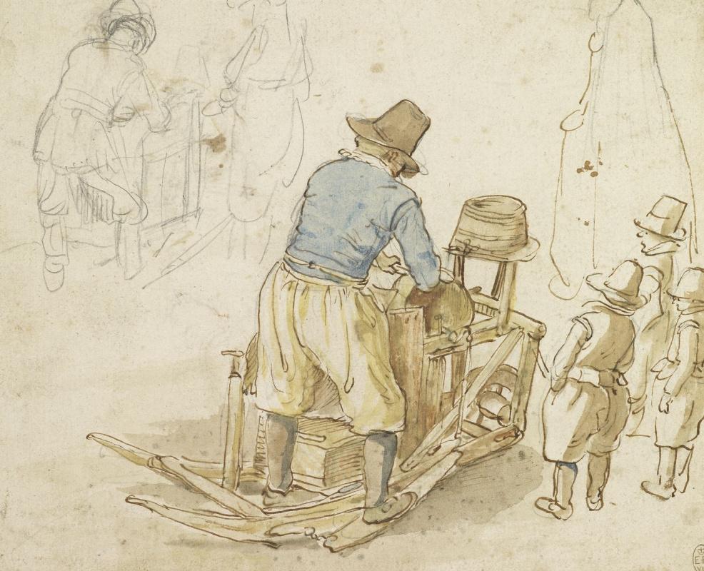 Hendrik Avercamp. Two studies of a knife grinder