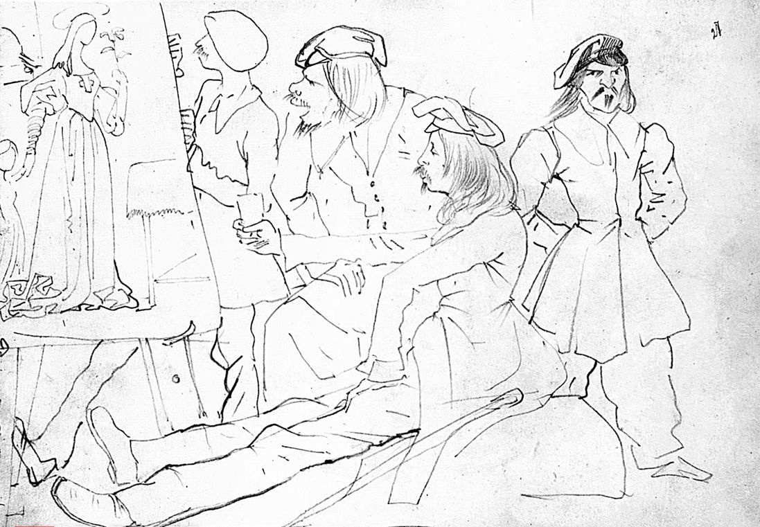 Karl Bryullov. German students (the artists of the time Nazarene works)