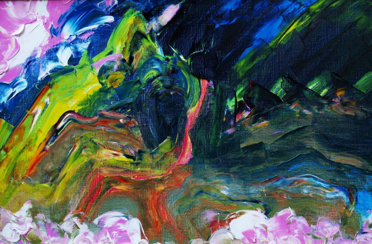 Кандинский-ДАЕ. Дорога через перевал. Холст, масло, 40-60, 2006. ( Экспрессивный сублиматизм.)