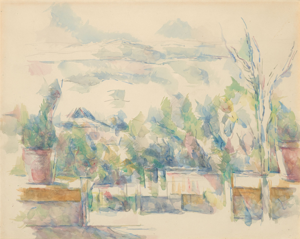Paul Cezanne. Terrace in the garden, Fishing, AIX EN Provence