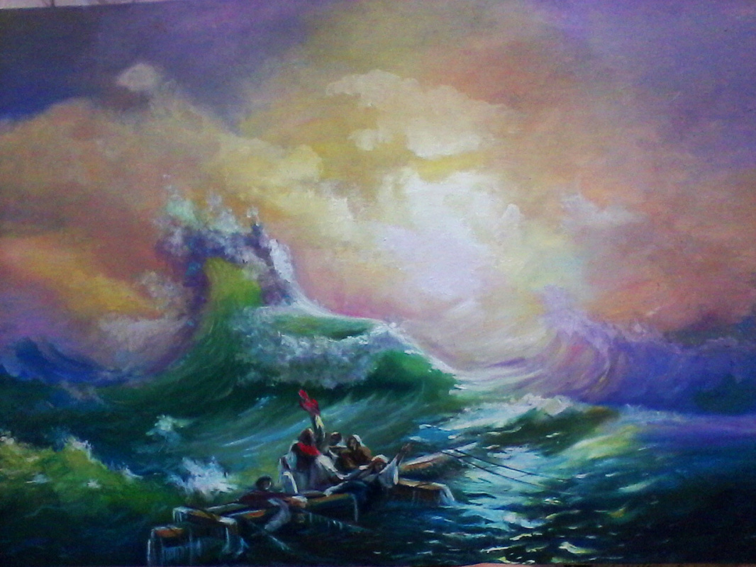 Olga Suncheleeva. The ninth shaft (copy from the picture by Aivazovsky)