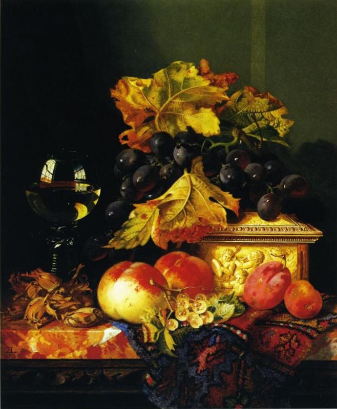 Эдвард Ладелл. Черный виноград на шкатулке из слоновой кости